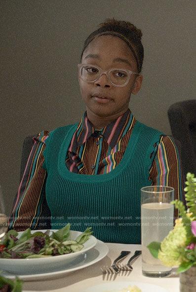 Diane's striped shirt and green dress on Black-ish