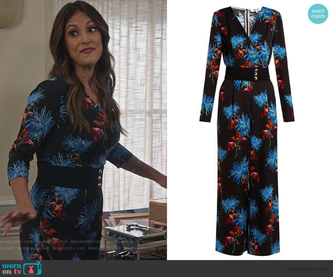 Hewes Floral-print Jumpsuit by Diane von Furstenberg worn by Colleen Brandon-Ortega (Angelique Cabral) on Life in Pieces