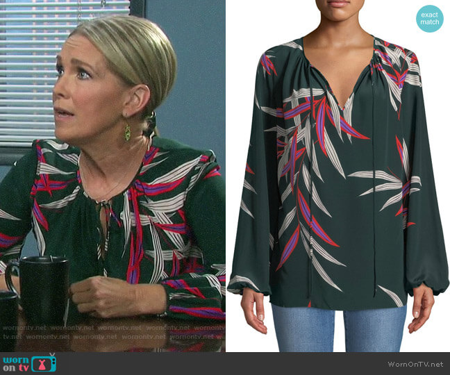 Diane von Furstenberg Silk Printed Blouse worn by Jennifer Horton (Melissa Reeves) on Days of our Lives