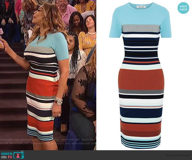 Striped stretch-knit dress by Diane Von Furstenberg worn by Wendy Williams  on The Wendy Williams Show