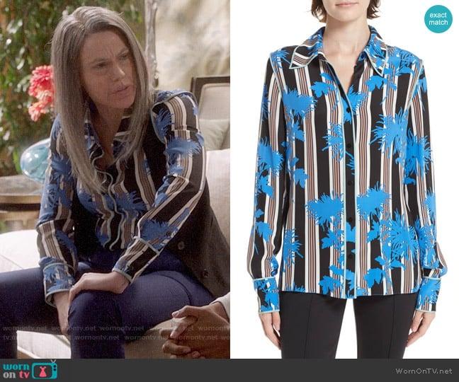 Diane von Fursteberg Stripe Button-Down Silk Shirt worn by Marjorie Palmiotti (Clea DuVall) on Veep