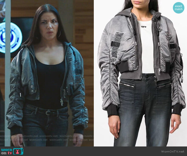 Cropped Bomber Jacket by Diesel worn by Martyna  Marek (Marika Dominczyk) on Whiskey Cavalier