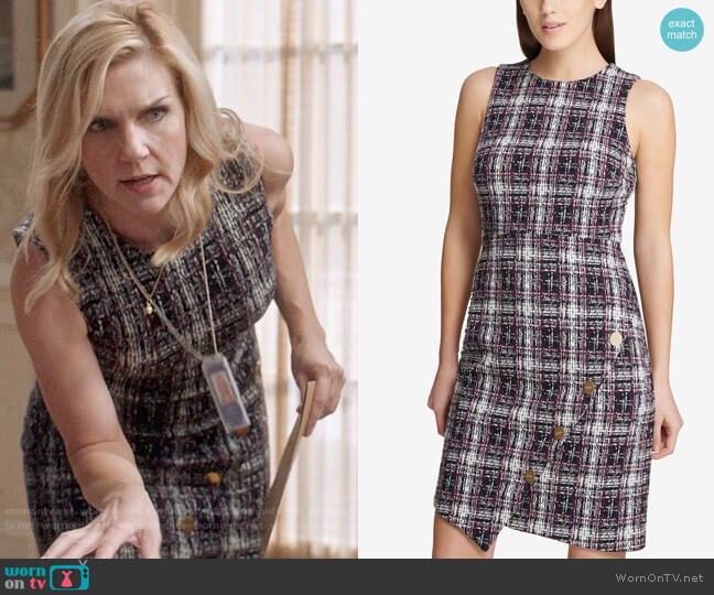 DKNY Asymmetrical Tweed Sheath Dress worn by Michelle York (Rhea Seehorn) on Veep