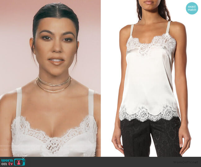 Lace-trimmed satin camisole by Dolce & Gabbana worn by Kourtney Kardashian (Kourtney Kardashian) on Keeping Up with the Kardashians