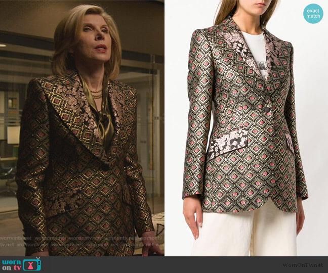 Jacquard Blazer by Dolce & Gabbana worn by Diane Lockhart (Christine Baranski) on The Good Fight