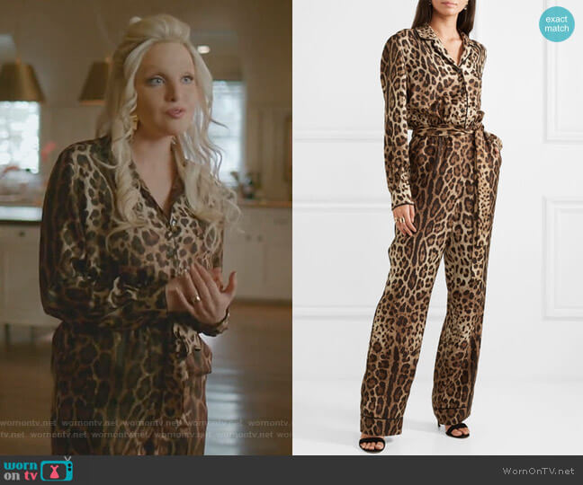 Leopard-Print Silk-Twill Jumpsuit by Dolce & Gabbana worn by Alexis Carrington (Nicollette Sheridan) on Dynasty