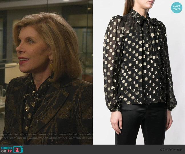 metallic polka dot blouse by Dolce & Gabbana worn by Diane Lockhart (Christine Baranski) on The Good Fight
