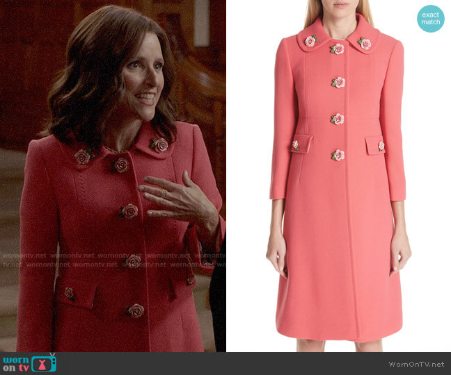 Dolce & Gabbana Rose Button Wool Coat worn by Selina Meyer (Julia Louis-Dreyfus) on Veep