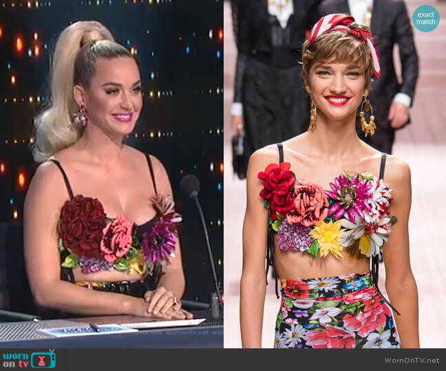 Spring 2019 Ready to Wear Collection by Dolce & Gabbana worn by Katy Perry  on American Idol