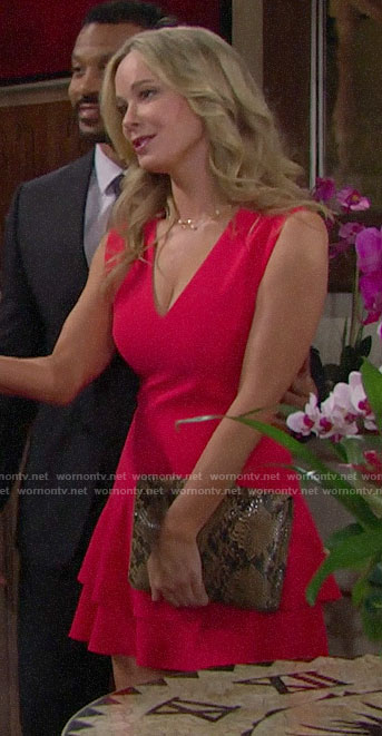 Donna's red v-neck tiered dress on The Bold and the Beautiful