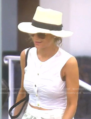Dorit's white gathered cropped top on The Real Housewives of Beverly Hills