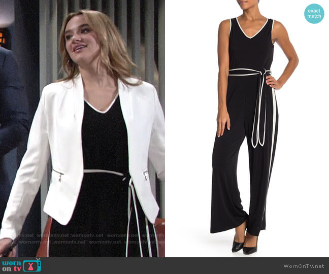 ECI Two-Tone V-Neck Tank Jumpsuit worn by Summer Newman (Hunter King) on The Young & the Restless