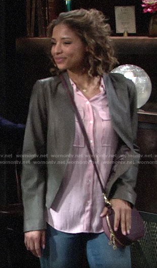 Elena's grey leather jakcet on The Young and the Restless
