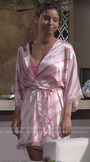 Elena's pink striped robe on The Young and the Restless