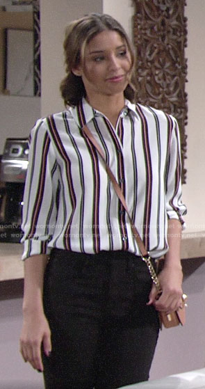 Elena's striped button down shirt on The Young and the Restless