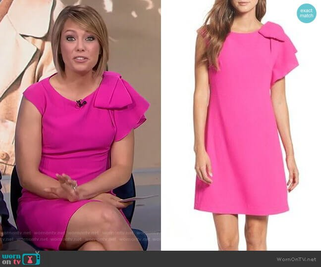 Ruffle Shoulder Shift Dress by Eliza J worn by Dylan Dreyer  on Today