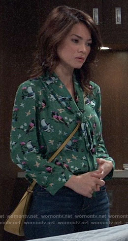Elizabeth's green bird print blouse on General Hospital