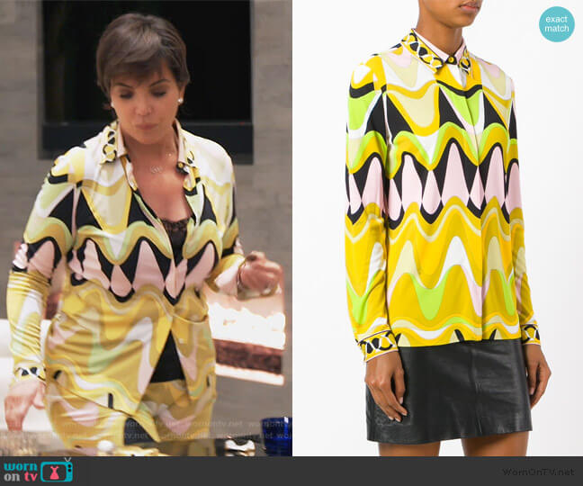 Triangle Printed Shirt by Emilio Pucci worn by Kris Jenner  on Keeping Up with the Kardashians