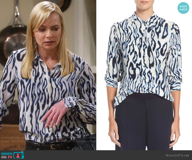 Equipment Marshmallow Brett Shirt worn by Jill Kendall (Jaime Pressly) on Mom