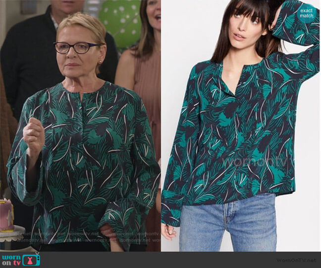 Palm Print Henley Blouse by Equipment worn by Joan Short (Dianne Wiest) on Life in Pieces