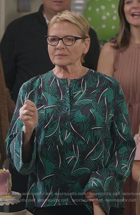 Joan's palm print top on Life in Pieces
