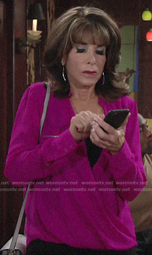Esther's pink zip pocket blouse on The Young and the Restless