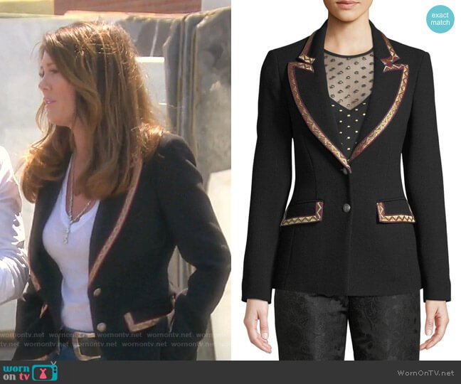 Single-Breasted Blazer with Embroidered Ribbon Trim by Etro worn by Lisa Vanderpump  on The Real Housewives of Beverly Hills