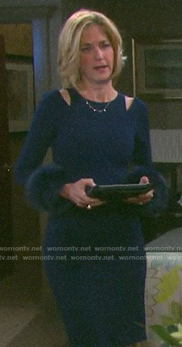 Eve's blue fur cuff dress on Days of our Lives