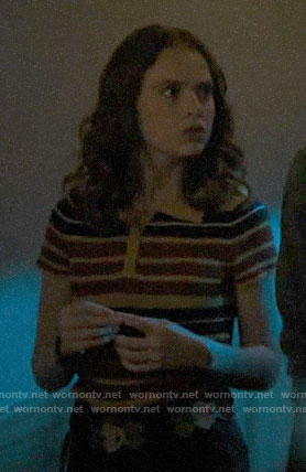 Evelyn's striped polo top on Riverdale