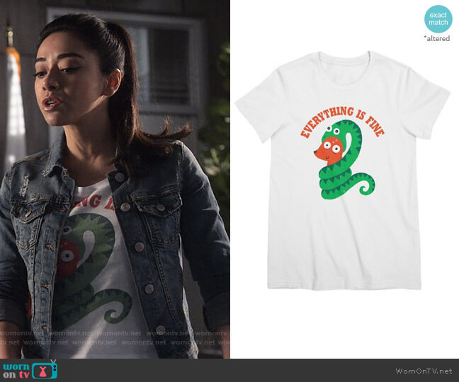Everything is Fine tee by Michael Buxton at Threadless worn by Ella Lopez (Aimee Garcia) on Lucifer