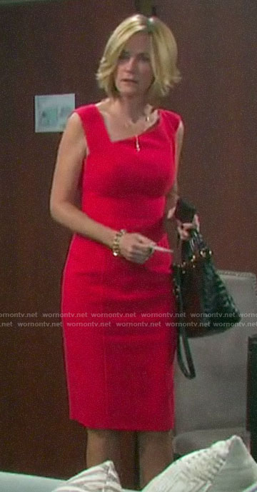 Eve's red asymmetric neckline dress on Days of our Lives