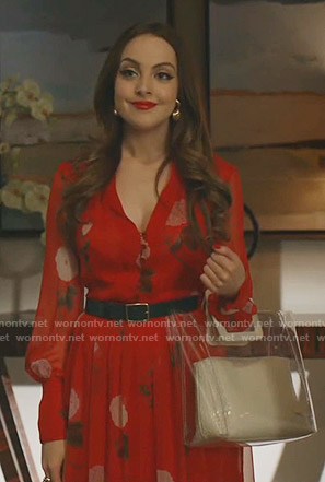 Fallon's red floral midi dress on Dynasty