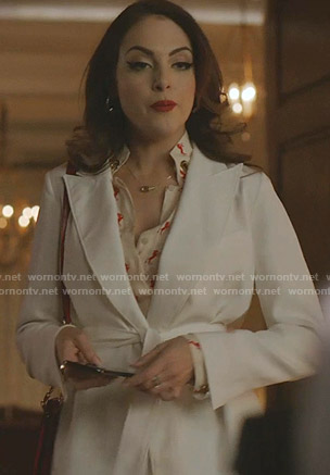 Fallon's horse print blouse and tie waist blazer on Dynasty