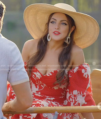 Fallon's red floral off-shoulder dress on Dynasty