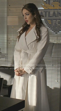 Fallon's white wrap coat on Dynasty