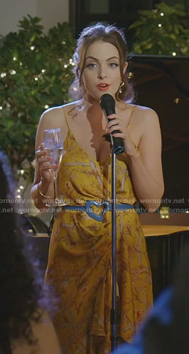 Fallon's yellow printed wrap dress on Dynasty
