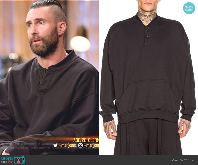 Terry Henley Sweatshirt by Fear of God worn by Adam Levine  on The Voice