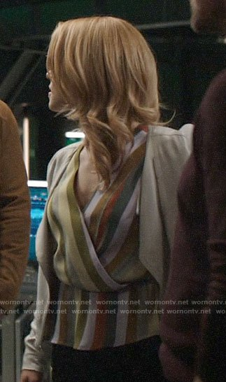 Felicity's striped wrap top on Arrow
