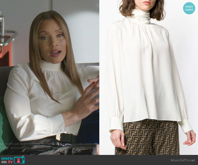Tie Neck Silk Blouse by Fendi worn by Dominique Deveraux (Michael Michele) on Dynasty