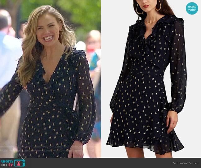 Fil Coupé Silk Wrap Dress by FiveSeventyFive worn by Hannah Brown  on The Bachelorette