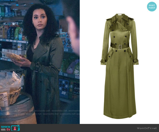 Fleur Du Mal Satin Trench Coat worn by Macy Vaughn (Madeleine Mantock) on Charmed