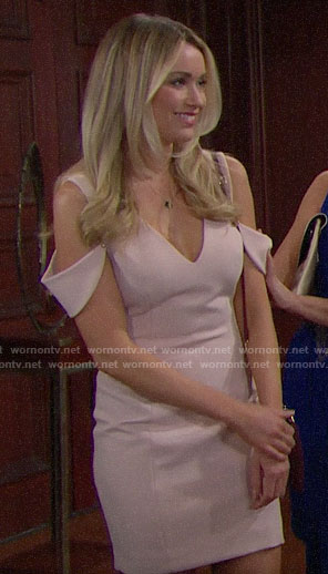 Flo's pink cold shoulder dress on The Bold and the Beautiful