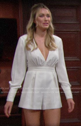 Flo's white long sleeved romper on The Bold and the Beautiful
