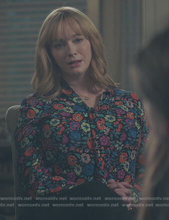 Beth's multicolored floral blouse on Good Girls