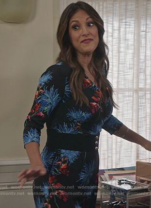 Colleen's black floral jumpsuit on Life in Pieces