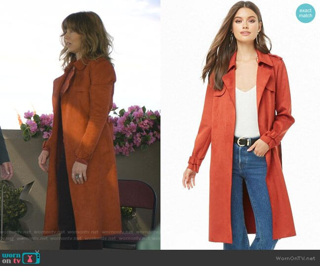Faux Suede Trench Coat by Forever 21 worn by Judy Hale (Linda Cardellini) on Dead to Me