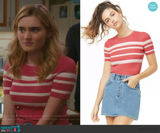 Striped Sweater-Knit Top by Forever 21 worn by Taylor Otto (Meg Donnelly) on American Housewife