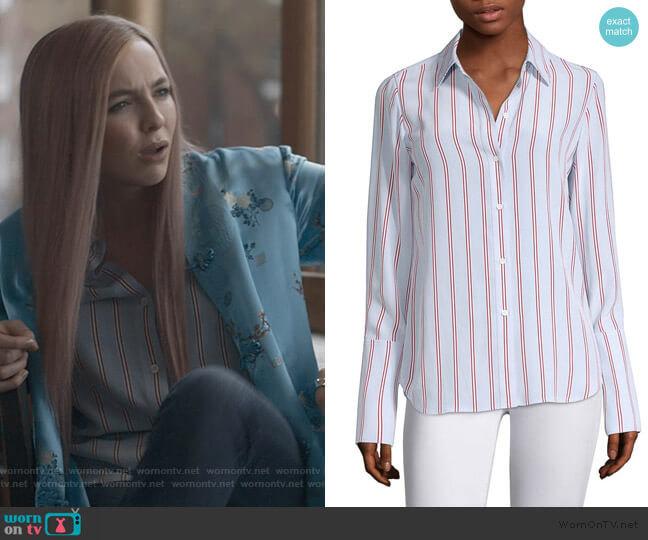 Silk Button-Front Blouse by Frame worn by Villanelle (Jodie Comer) on Killing Eve