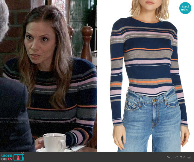 Frame Stripe Crewneck Merino Wool Blend Sweater worn by Kim Nero (Tamara Braun) on General Hospital