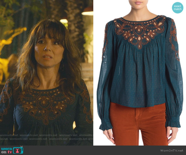Everything I Know Cotton Peasant Blouse by Free People worn by Judy Hale (Linda Cardellini) on Dead to Me